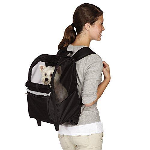 East Side Collection On-the-Go Rolling Backpacks — Convenient and Versatile Carriers for Small Dogs and Cats, Black