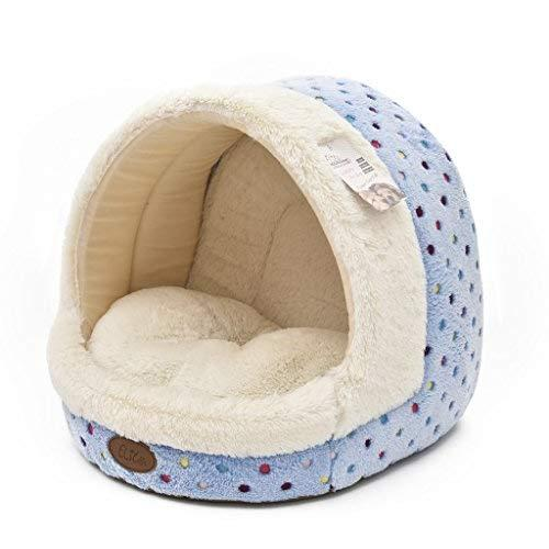 Tofern Cute Colorful Dots Non-Slip Washable Self-Heating Fleece Pet Bed Puppy Dog Cat Igloo House With Waterproof Base, Igloo, Sky Blue-S