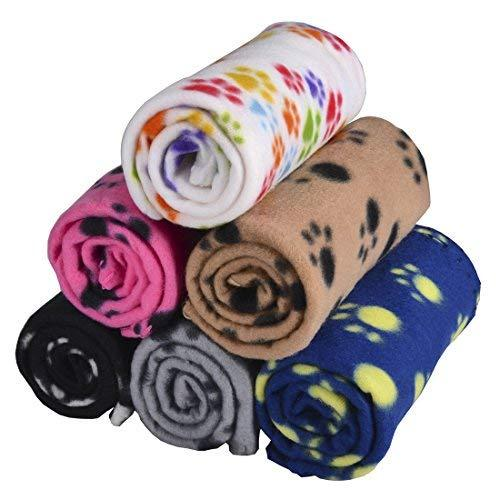 Lovely Pet Paw Prints Fleece Blankets For Dogs Cats Animals (6 Pack Of 24X28 Inches)