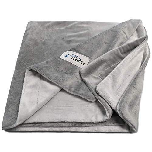 Petfusion Premium X-Large Dog Blanket (60X48). Reversible Gray Micro Plush. [100% Soft Polyester]