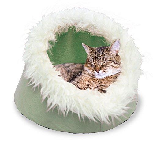 Furhaven Pet Cat Bed | Cat Cave Pet Bed, Sage, 18-Inch Base