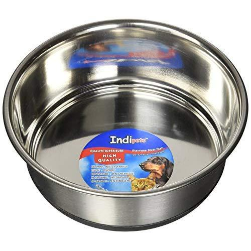 Indipets Stainless Steel Extra Heavy Duty Pet Bowl With Removable Anti Skid Rubber Base, 1-Quart