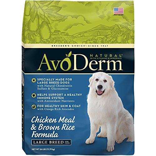 AvoDerm Natural Chicken Meal & Brown Rice Formula Large Breed Dry Dog Food, For Pet Food Allergy Support, 26 lb