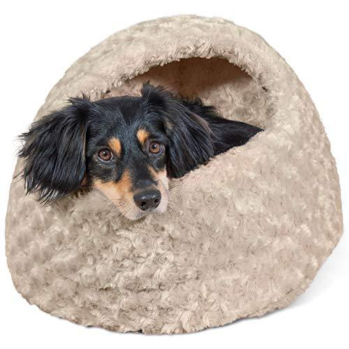 Furhaven Pet Hood Bed | Ultra Plush Hood Pet Bed For Dogs & Cats, Cream, One-Size