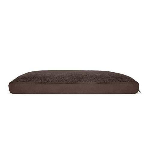 Furhaven Pet Dog Bed | Deluxe Snuggle Terry & Suede Pillow Pet Bed For Dogs & Cats, Espresso, Large