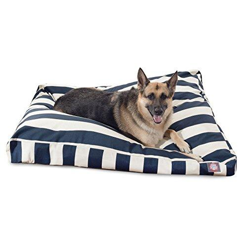 Navy Blue Vertical Stripe Extra Large Rectangle Pet Bed