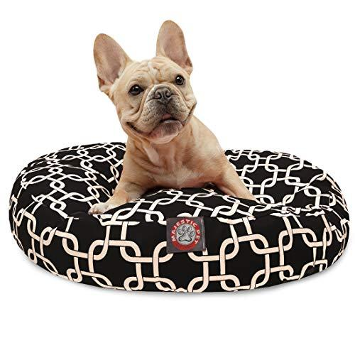 Black Links Small Round Indoor Outdoor Pet Dog Bed With Removable Washable Cover By Majestic Pet Products