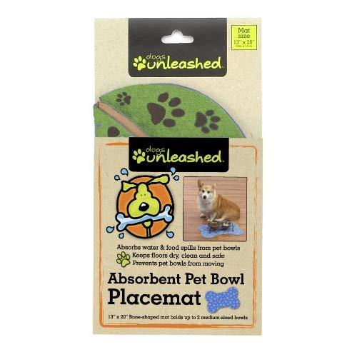 Dogs Unleashed Ritz Absorbent Bone Shape Pet Placemat, 13 By 20-Inch, Clover