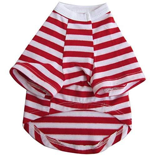Iconic Pet Pretty Pet Striped Top, XX-Small, Red and White