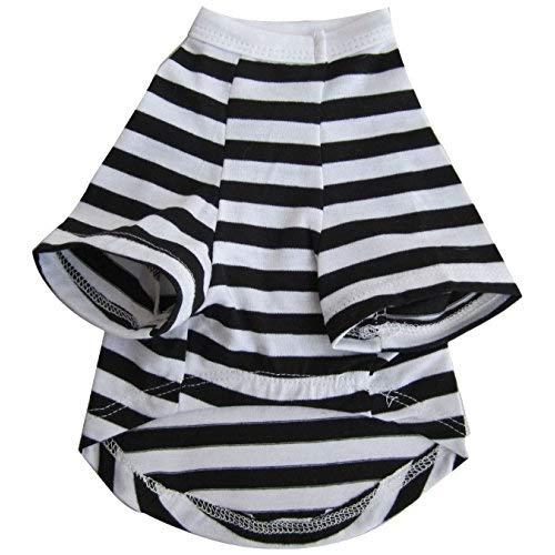 Iconic Pet Pretty Pet Striped Top, X-Small, Black and White