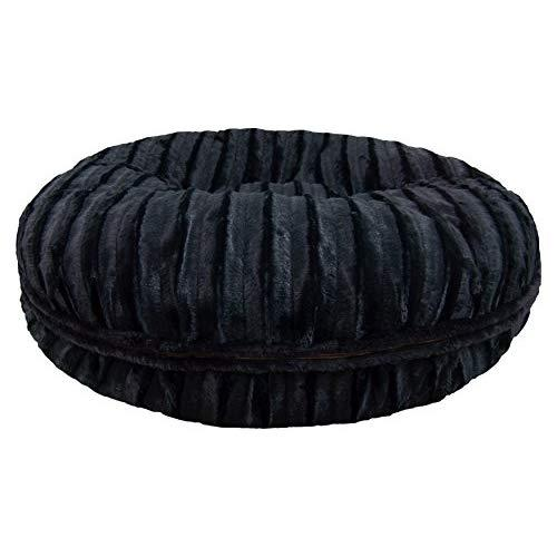 Bessie And Barnie Signature Black Puma Extra Plush Faux Fur Bagel Pet/Dog Bed (Multiple Sizes)