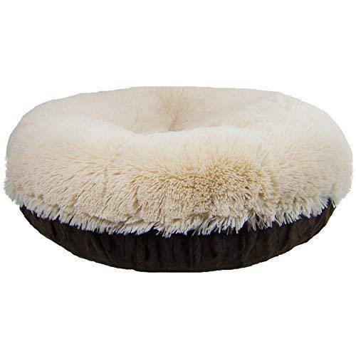 Bessie And Barnie Signature Godiva Brown/Blondie Luxury Shag Extra Plush Faux Fur Bagel Pet/Dog Bed (Multiple Sizes)