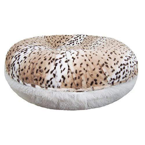 Bessie And Barnie Signature Aspen Snow Leopard / Snow White Luxury Shag Extra Plush Faux Fur Bagel Pet / Dog Bed (Multiple Sizes)