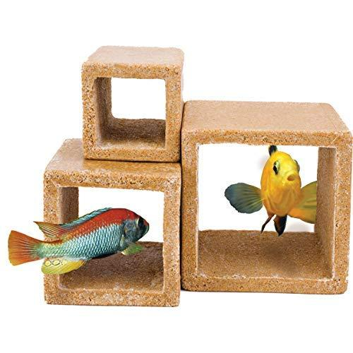 Stone Hideaway Cube 3Pk Deco Replica