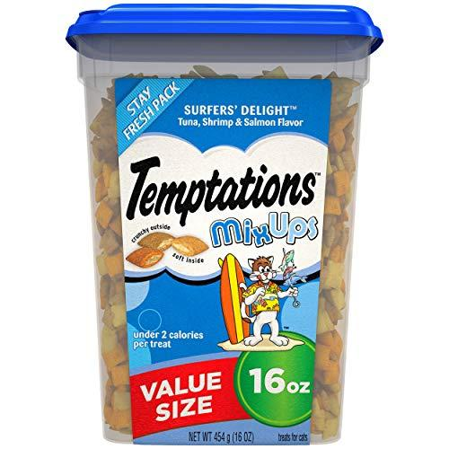 TEMPTATIONS MixUps Treats for Cats SURFER'S DELIGHT Flavor, 16 Oz Tub
