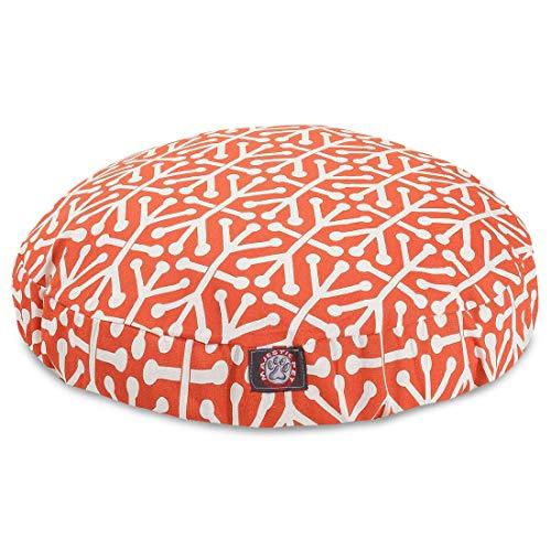 Orange Aruba Medium Round Indoor Outdoor Pet Dog Bed With Removable Washable Cover By Majestic Pet Products