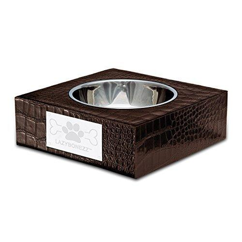 Lazybonezz Croc Embossed Pet Feeding Bowl For Dogs And Cats With One Dishwasher Safe Metal Bowl For Food And Water, Espresso Brown