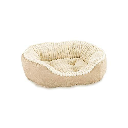 Ethical Pets Sleep Zone Faux Suede Carved Plush Lounger, Cuddler, Napper Dog Bed - Fabric Bottom - 32X25 Inches/Tan/Attractive, Durable, Comfortable, Washable