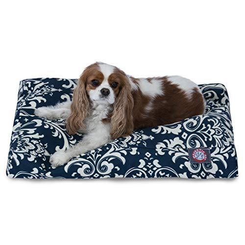 Navy Blue French Quarter Small Rectangle Indoor Outdoor Pet Dog Bed With Removable Washable Cover By Majestic Pet Products