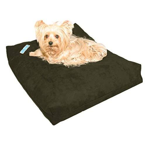 Five Diamond Collection Shredded Memory Foam Orthopedic Bed With Removable Washable Cover And Water Proof Inner Fabric, Small (25-Inch-By- 20-Inch), Olive Microfiber, For Dogs