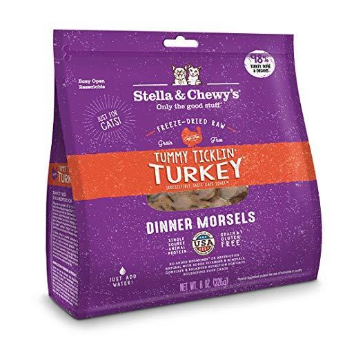 Stella & Chewy's Freeze-Dried Raw Tummy Ticklin' Turkey Dinner Morsels Grain-Free Cat Food, 8 oz bag