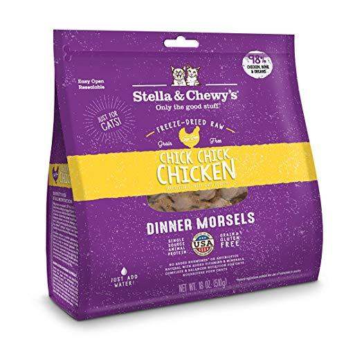 Stella & Chewy's Freeze-Dried Raw Chick, Chick, Chicken Dinner Morsels Grain-Free Cat Food, 18 oz bag