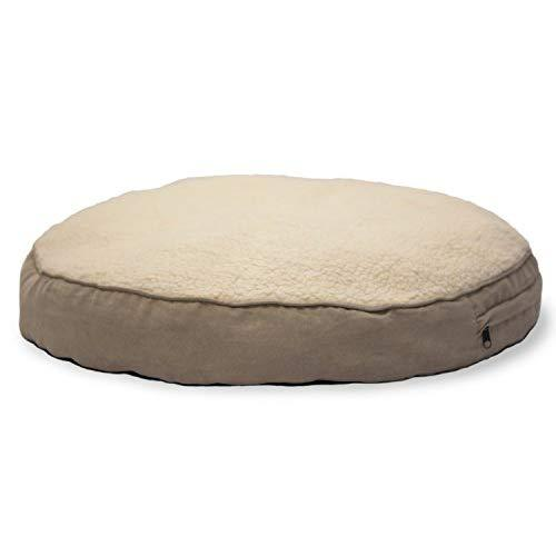 Furhaven Pet Dog Bed   Faux Sheepskin & Suede Round Pillow Pet Bed For Dogs & Cats, Clay, 26-Inch