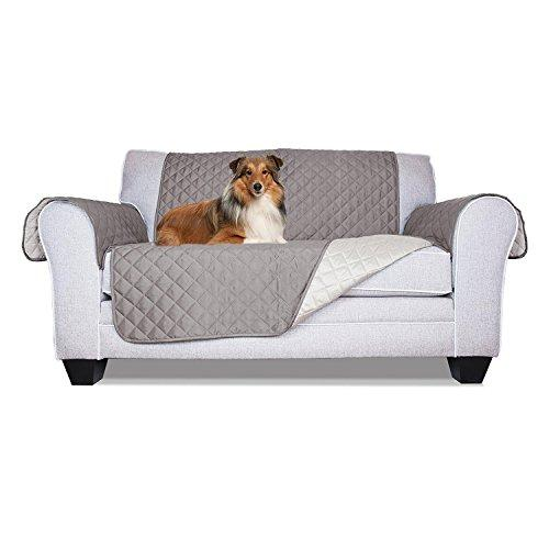 Aleko Psc02G Pet Furniture Slipcover Spill Scratch Pet Fur Protection Cover For Love Seat Couch Bed 88 X 70 Inches Gray