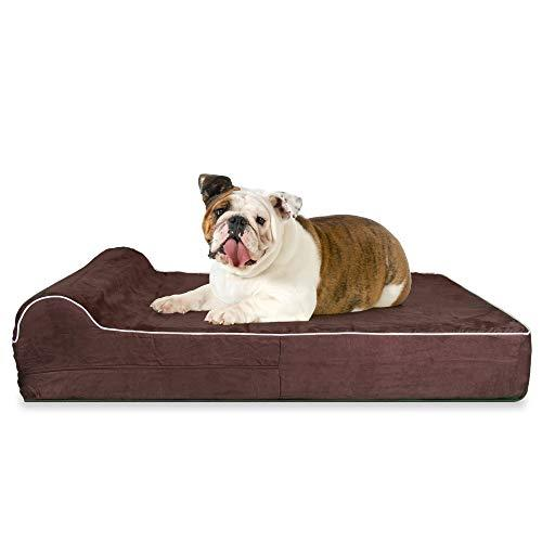 5.5-Inch Thick High Grade Orthopedic Memory Foam Dog Bed With Pillow And Easy To Wash Removable Cover With Anti-Slip Bottom. Free Waterproof Liner Included - For Large Breed Dogs - Brown