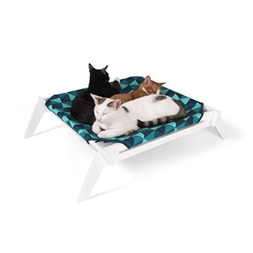 Primetime Petz Pet Lounge, Raised Indoor Pet Bed For Cats Or Small Dogs, Reversible Fabric Hammock (Blue Triangles/Solid Teal)