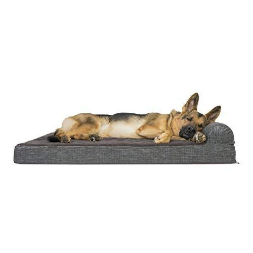 Furhaven Pet Dog Bed | Orthopedic Quilted Fleece & Print Chaise Lounge Sofa-Style Pet Bed For Dogs & Cats, Espresso, Jumbo