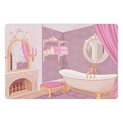 Lunarable Feminine Pet Mat For Food And Water, Fancy Bathroom Design In The Palace Of The Princess With Bathtub Cabinet Mirror, Rectangle Non-Slip Rubber Mat For Dogs And Cats, Beige Pink