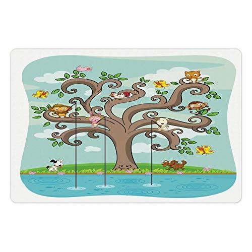 Lunarable Cartoon Pet Mat For Food And Water, Tree Of Life Cartoon Art Monkey Doggy Bunny Bee Chicken Burds Fishing, Rectangle Non-Slip Rubber Mat For Dogs And Cats, Cocoa Teal Turquoise