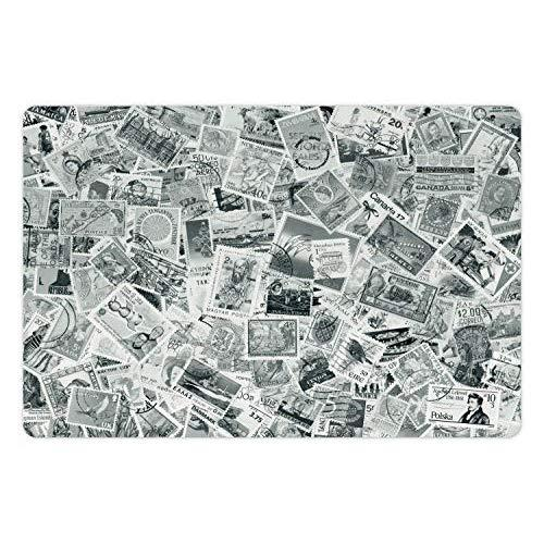 Lunarable Modern Pet Mats For Food And Water, Vintage Black And White Image Of Large World Postage Stamps Travel Hobby Theme Artwork, Rectangle Non-Slip Rubber Mat For Dogs And Cats, Grey