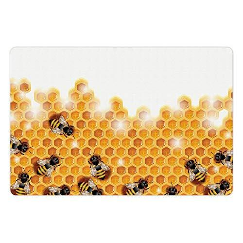 Lunarable Nature Pet Mats For Food And Water, Sweet Honey Bees Wax Abstract Insect Of Spring Season Artwork Image, Rectangle Non-Slip Rubber Mat For Dogs And Cats, Apricot Marigold White
