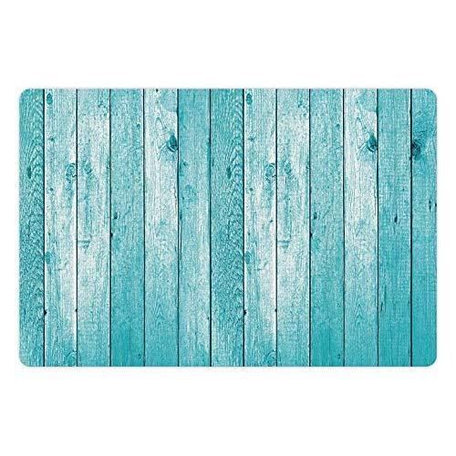 Lunarable Turquoise Pet Mat For Food And Water, Aged Wooden Planks Texture Image Vertically Striped Surface Floor Rustic Design, Rectangle Non-Slip Rubber Mat For Dogs And Cats, Turquoise