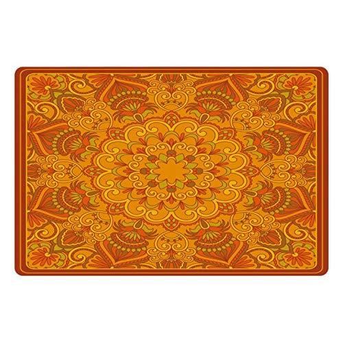 Lunarable Ethnic Pet Mat For Food And Water, Middle Eastern Old Fashioned Carpet Pattern Inspired Retro Oriental Image, Rectangle Non-Slip Rubber Mat For Dogs And Cats, Marigold Orange Green