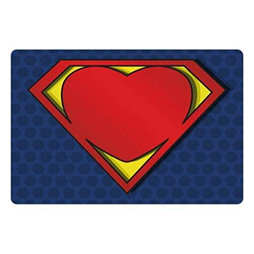 Lunarable Superhero Pet Mat For Food And Water, My Super Hero Shield Logo With Heart Figure Valantines Romance Print, Rectangle Non-Slip Rubber Mat For Dogs And Cats, Night Blue Red Yellow