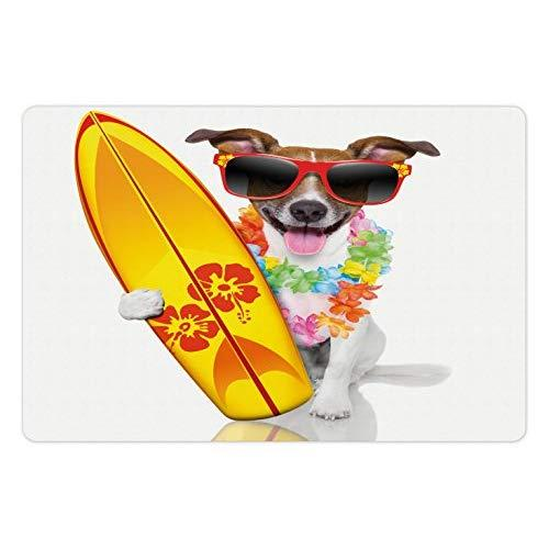 Ambesonne Ride The Wave Pet Mat For Food And Water, Surfer Puppy With Sunglasses And Tropical Hibiscus Flowers Hawaiian Dog Print, Rectangle Non-Slip Rubber Mat For Dogs And Cats, Multicolor