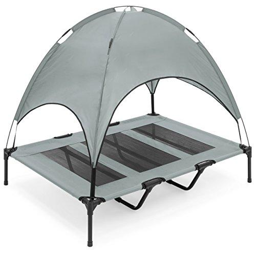 Best Choice Products 48In Outdoor Raised Mesh Cot Cooling Dog Pet Bed W/Removable Canopy, Travel Bag - Gray