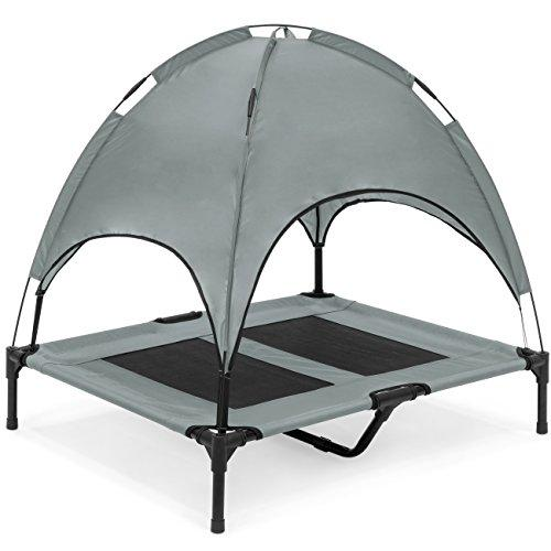 Best Choice Products 36In Outdoor Raised Mesh Cot Cooling Dog Pet Bed W/Removable Canopy, Travel Bag - Gray