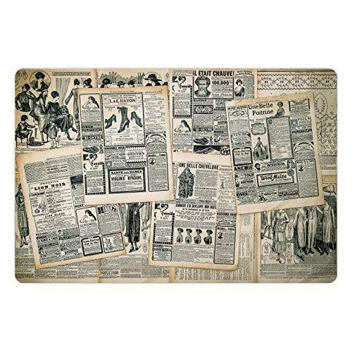 Lunarable Antique Pet Mat For Food And Water, Vintage Style Sepia Toned Newspaper Print With Old Fashioned Illustrations, Rectangle Non-Slip Rubber Mat For Dogs And Cats, Dark Green Beige