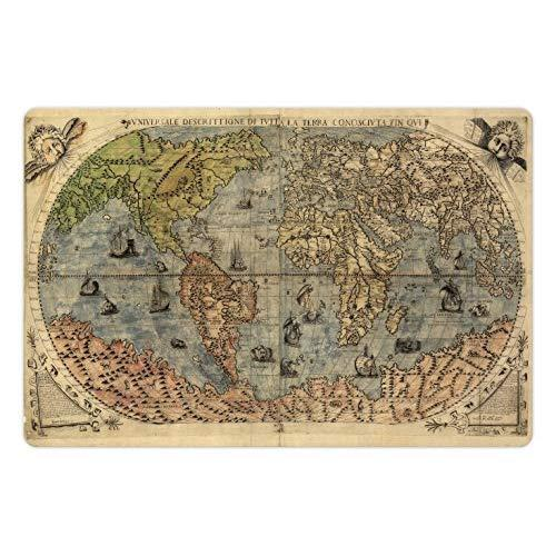 Lunarable Antique Pet Mat For Food And Water, Ancient Map Of World Global History Stained Paper Oceans Lands Vintage Atlas, Rectangle Non-Slip Rubber Mat For Dogs And Cats, Cream Green Rose
