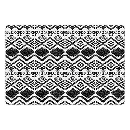 Lunarable Tribal Pet Mat For Food And Water, Hand Drawn Style Tribal Pattern Geometric And Oranmental Aztec Design Print, Rectangle Non-Slip Rubber Mat For Dogs And Cats, Black And White