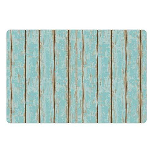 Lunarable Wood Print Pet Mat For Food And Water, Old Fashioned Weathered Rustic Planks Summer Cottage Beach Coastal Theme, Rectangle Non-Slip Rubber Mat For Dogs And Cats, Pale Blue Tan