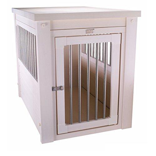 Contemporary End Table Pet Crate And Kennel With Stainless Steel Spindles - Includes Modhaus Living Pen (Large, White)