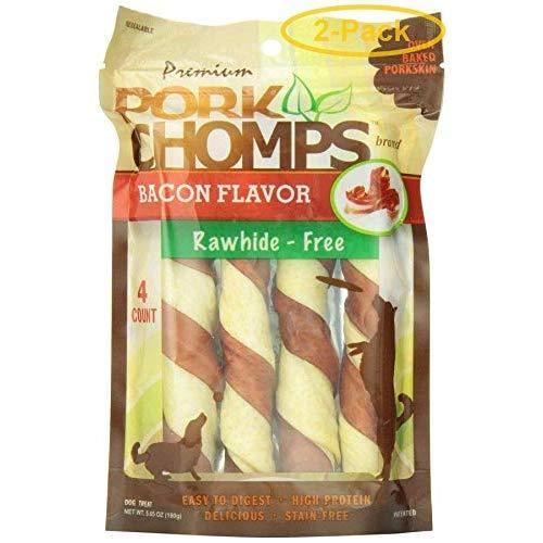 Scott Pet Products Premium Pork Chomps Bacon Flavored Twist 2 Pack (8 Twists Total)