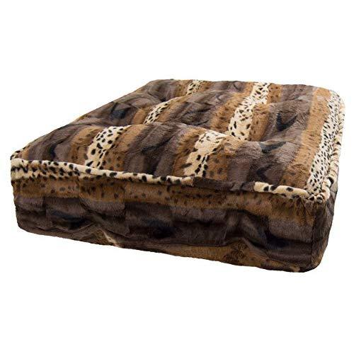 Bessie And Barnie Wild Kingdom Extra Plush Faux Fur Sicilian Rectangle Pet/Dog Bed (Multiple Sizes)