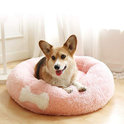 Affetto Original Cat And Dog Bed | Luxury Faux Fur Donut Cuddler Beds Self-Warming Indoor Round Pillow With Cover For Pet, Improved Sleep, Machine Washable [Pink/Xl]