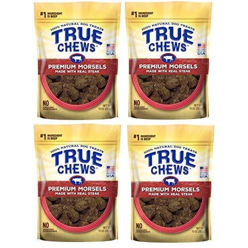 True Chews Dog Treats Premium Steak Jerky Morsels 10 Oz Made In Usa (4 Packs)